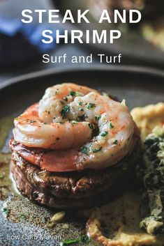 Surf and Turf recipe featuring filet mignon and shrimp with garlic butter sauce. #lowcarb #keto #dinner #skillet