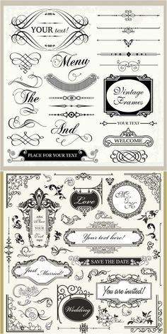 information・invitation に使えそうな装飾パーツがいっぱい! 組み合わせを工夫すれば、簡単に素敵な招待状、案内状が作成可能 Decorative Orname…