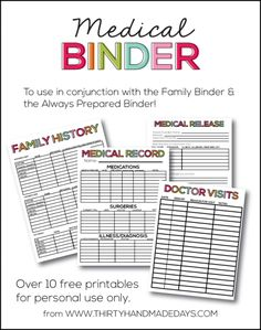 Binder Super helpful Medical Binder with free printables to add to your family binder or to create a new binder.Super helpful Medical Binder with free printables to add to your family binder or to create a new binder. Planning Menu, Planning Budget, Retirement Planning, Lesson Planning, Printable Planner, Free Printables, Printable Calendars, Free Family Binder Printables, Christmas Printables