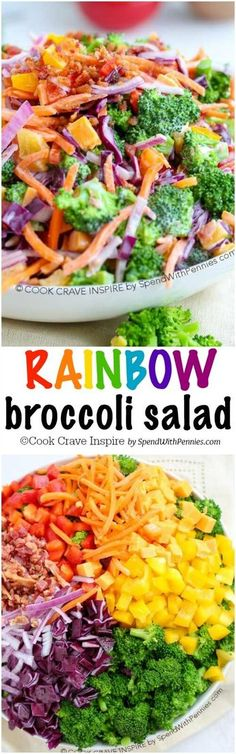 Rainbow Broccoli Salad is loaded with flavor and color! This is the perfect potluck salad or side for any barbecue with a colorful helping of veggies, a quick easy homemade dressing and a sprinkle of bacon and cheddar!