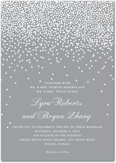 Signature White Wedding Invitations - Diamond Sky by Wedding Paper Divas. I would prefer it in all white with the dot design embossed without ink.