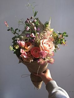 Blush Bunch by Petalon, Flowers by Bike in London. Love love love the colours of the rose, ranunculus and anemones - some of my favourite flowers! Just dreamy <3
