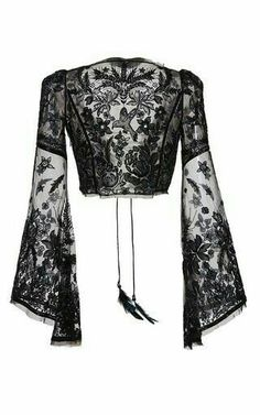 Embellished Cropped Blouse by Roberto Cavalli Gothic Fashion, Look Fashion, Womens Fashion, Fashion Design, Mode Outfits, Casual Outfits, Sexy Bluse, Embellished Crop Top, Crop Blouse