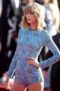 MTV Music Video Awards | Inglewood, CA | August 24, 2014 | Taylor Swift in leotard from the Mary Katrantzou Resort 2015 collection. Worn with: Lorraine Schwartz + Ofira jewels and Elie Saab wine-coloured peep-toe cutout booties.
