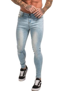 Maison Non Ripped Spray On Jeans - Light Blue 5 Pockets Design Light Blue Denim Stretch Denim Zipper Closure High Waisted Comfortable and Soft Machine Wash Cotton, Elastane Model: wearing size 32 Light Blue Ripped Jeans, Blue Denim, Mens Spray On Jeans, Stretch Denim, Stretch Fabric, Zero Seven, Seven Jeans, Bleached Denim, Skinny Jeans