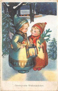 BG8437 children fir branch weihnachten christmas greetings germany