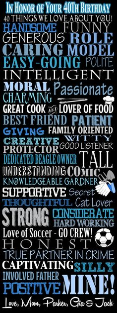 40 things we love about you in honor of your by CustomPrintablesNY