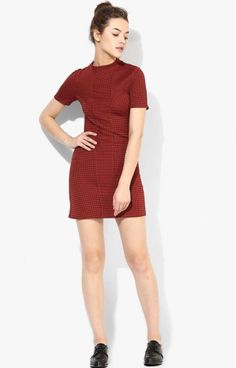 9798216d299 Details about -% ex TOPSHOP Burgundy Dark Red Textured Spot Shift Dress HOT  UK 6 8 10 RRP £34