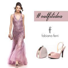 #OutfitIdea.... Delicato e in tinta il ricamo che avvolge l'intera silhouette di questo abito lungo con scollo americano, per un effetto #glamour indossa il #sandalo tacco 10, bimateriale glitter e raso abbinati alla mini #clutch con chiusura strass, parte anteriore in materiale glitter!  #collezione #FabianaFerriShoesandBags 2015  #fashionaddicted #fashionvictim #moda #modadonna #abbigliamento #clothing #atelier #stile #style #look #outfit #eveninggown #dress #dresses #cerimonia…