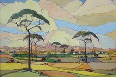 Artist: Jacob Hendrik Pierneef (South African, Title: An extensive view of farmlands, c Medium: Oil on Canvas African, Art Painting, Landscape Paintings, Landscape Artist, Fine Art, Art, South African Art, South African Artists, Landscape Art