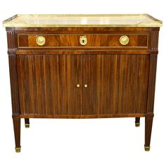 French Louis XVI Commode a Rideaux with Marble Top