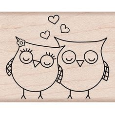 Hero Arts Heart Owls Wood Mounted Rubber Stamp