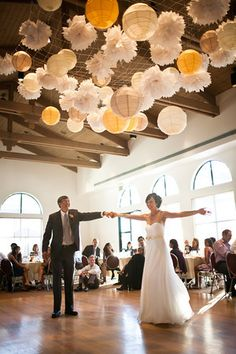 Dean and Bethany Picone - Josh Gruetzmacher - idea for lots of hanging lights. Hang From Ceiling Decor, Wedding Ceiling Decorations, Wedding Centerpieces, Summer Wedding, Our Wedding, Wedding Venues, Dream Wedding, Wedding Ideas, Hanging Lights