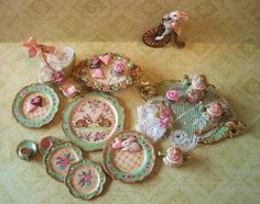 Jill Dianne - WHOLE SET - Rabbits n Roses Tea and Luncheon Dishes with antique lace, cupcakes and heart cookies...... $435.00, via Etsy.