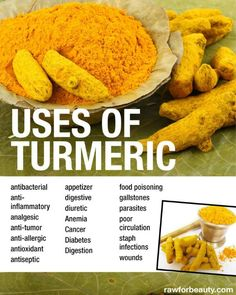 Turmeric is full of healing properties and is a powerful anti-inflammatory. i use a sprinkle here and there throughout the day- in warm milk, in a salad dressing, on rice, etc.