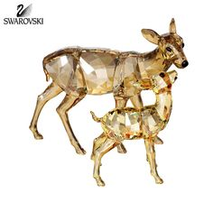 "Swarovski Color Crystal Animal Figurines Set of 2 DOE & FAWN #1142843 Size: 3.25"" x 3.5""; 2.15"" x 2"" New in original box"