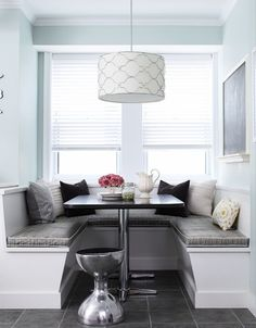 Laura Moss Photography - dining rooms - banquette window seat, window seat banquette, u shaped banquette, built in banquette, dining nook