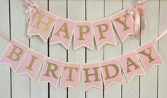 pink and gold birthday banner pink and gold birthday party ballerina birthday ballerina party princess party 1st birthday couture birthday by MerryMakersPapier on Etsy https://www.etsy.com/listing/221754379/pink-and-gold-birthday-banner-pink-and