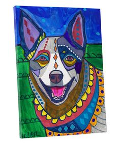 Off Today- Australian Cattle Dog Art Pillow - - - Dog - Modern Abstract Art by Heather Galler Paint Your Pet, Dog Shower, Poster Prints, Art Prints, Mexican Folk Art, Australian Cattle Dog, Tile Art, Dog Art, Oeuvre D'art