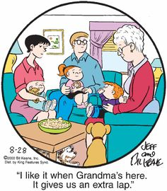 The Family Circus Classic Comics, Classic Cartoons, Grandchildren, Grandkids, Clean Puns, Family Circus Cartoon, Grandmothers Love, Family Circle, August 28
