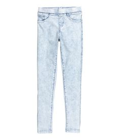 Treggings in sturdy denim-look jersey with an elasticated waist, fake pockets at…