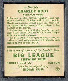 1933 Goudey Gum 226 Charlie Root (back)