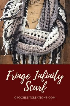 Fringe Infinity Scarf FREE crochet pattern by Crochet It Creations. It uses EXACTLY 1 skein of Caron Big Cakes Yarn!!