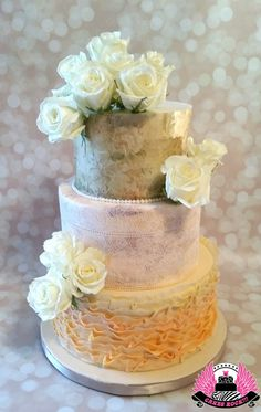 Romantic peach toned cake with wafer paper, lace & ruffles, Cakes ROCK!!! Austin, TX