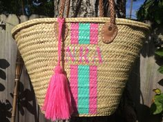 monogrammed bag, personalized basket, french market basket, beach bag