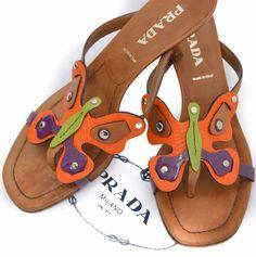 f8036ecc7578f4 Authentic Prada Butterfly Leather Thong Kitten Heel Sandal 36 6 W Dust bags