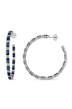 From the Vault 0.875 ct Diamond & Sapphire Hoop Earrings in 18k White Gold - Beyond the Rack