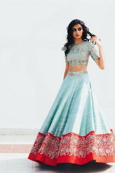 The Bridal Lehenga store lends time, quality and variations, to contemplate the right choice. Also, worldwide shipping is available. Indian Lehenga, Half Saree Lehenga, Lehnga Dress, Blue Lehenga, Lehenga Style, Sari, Indian Bridal Outfits, Indian Designer Outfits, Designer Dresses