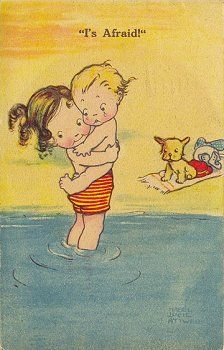 mabel lucie attwell: This was my son when I first took him to the ocean!
