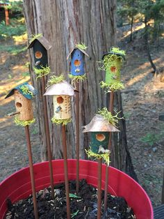 Hand Crafted & One-Of-A-Kind mini bird house on a stick. Add to any house plant, vase of flowers/cactus, pots on the patio, the garden or anywhere else you like. recycled wine cork copper roof wooden dowel natural stick Pinch of moss Pa Cactus House Plants, House Plants Decor, Plant Decor, Indoor Cactus, Cactus Cactus, Garden Crafts, Garden Art, Garden Design, Flower Vases