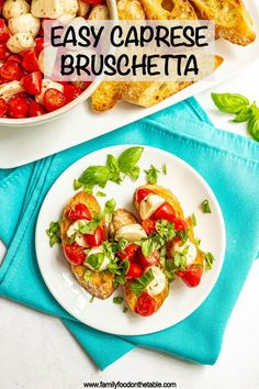 Easy Caprese bruschetta with fresh tomatoes and basil, marinated mozzarella balls and crusty, toasted baguette slices is the perfect summer appetizer!