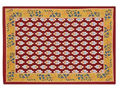 """Indian Cotton Placemats for the Dining Room - Yellow Red Blue Floral- Set of 6 Washable 13"""" x 19"""" Place Mats ShalinIndia http://www.amazon.com/dp/B00TAU1MZ8/ref=cm_sw_r_pi_dp_PjgWvb1D6ATWG"""
