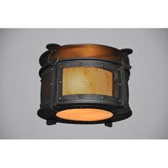 Steel Partners Rogue River 1 Light Harstene Mesh Flush Mount Finish: Architectural Bronze, Shade Color: Amber Mica