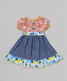 Loving this Navy & Blue Paisley & Polka Dot Sash Dress - Toddler & Girls on #zulily! #zulilyfinds