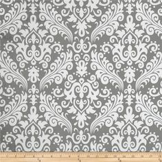 Riley Blake Large Damask Grey from @fabricdotcom  Designed by RBD Designers for Riley Blake, this cotton print is perfect for quilting, apparel and home decor accents.  Colors include white and grey.