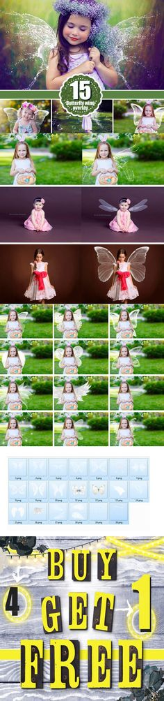 15 Angel butterfly Wings Overlays. Photoshop Layer Styles. $10.00