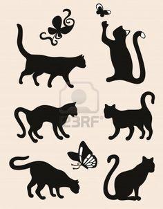 Seis siluetas del gato aislado sobre fondo café con leche Foto de archivo