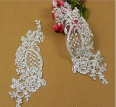 10Pair Applique Guipure African Bridal Lace Sequin Embroidery Fabric  Accessory Silver Cord Flower Wedding Dress Sew Ivory 26*9