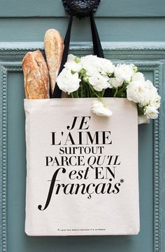 French Tote Bag L'aime Funny Canvas