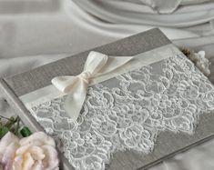 Mariage, livre d'or, livre d'or, dentelle, Shabby Chic dentelle de lin naturel,
