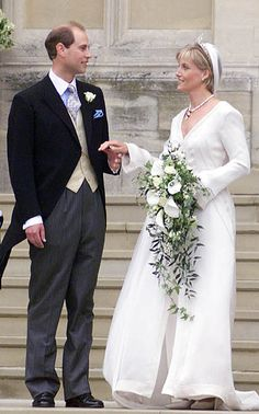 Five months after the announcement of their engagement, Britain's Prince Edward and Sophie Rhys-Jones were married in Windsor Castle's St George's Chapel on Saturday 19 June, 1999. For her wedding to the Queen's youngest son, the former PR wore a simple ivory silk and organza dress-coat created by Samantha Shaw, featuring 325,000 crystals and pearls fastened along the neck, full-length sleeves and train. As well as her corseted V-neck gown, Sophie wore a cathedral-length veil, sprinkled with…