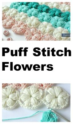 Crochet Stitches For Beginners Puff Stitch Flower Pattern - Free Written Crochet Tutorial - Puff Stitch Flower Pattern - The great thing about the puff stitch flower is that it can be done in a few different ways, so you have a flower which is bold Puff Stitch Crochet, Crochet Puff Flower, Crochet Flower Patterns, Crochet Stitches Patterns, Tunisian Crochet, Easy Crochet, Crochet Flowers, Bobble Stitch, Knitting Patterns