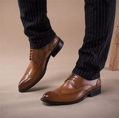 Shoes - Brown Luxury Oxfords genuine leather shoes