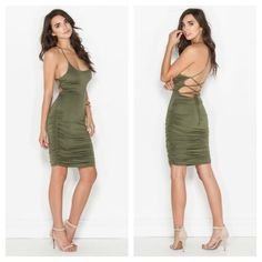 Backless Ruched Lace Up Midi Dress Brand: Go Jane. Color: Olive.   95% Rayon, 5% Spandex   Stretches! A midi-length silhouette, ruched side seams and adjustable laces which crisscross over an exposed back. Lined dress, does not have closures.   This is my only available size/item.  Price is firm. No Trades. ❤️ Seraphina Rose Dresses Midi