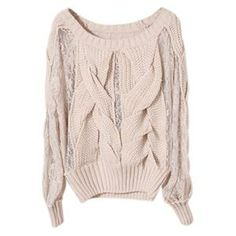 Cable Knit Panel Lace Apricot Jumper | Pariscoming #pariscoming your personal style online store. #outfit #xmasfashion #party #streetstyle #fashionblog #fashiondiaries #fashiondiary #WearIt #WhatYouWear ✿ ❀ like it? buy now ❀ ✿