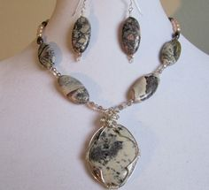 Porcelain Jasper Necklace and Earring Set Natural Stone Wire-wrapped Freshwater Pearls by PeaceofNatureJewelry on Etsy